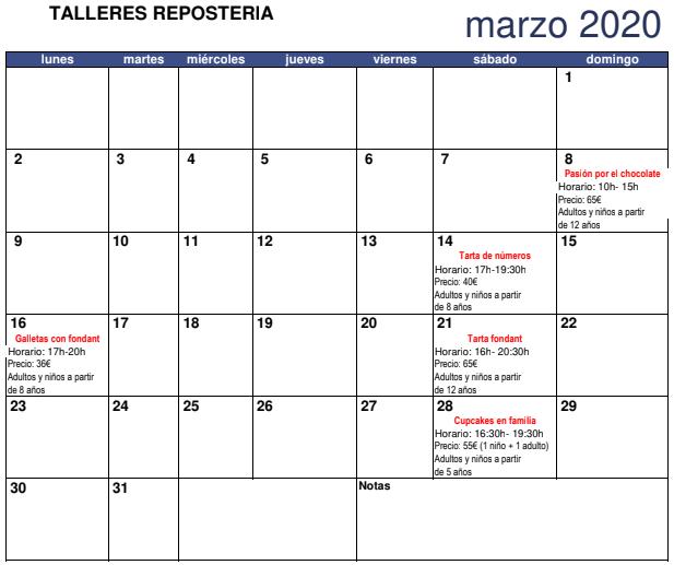 talleres reposteria marzo 2020