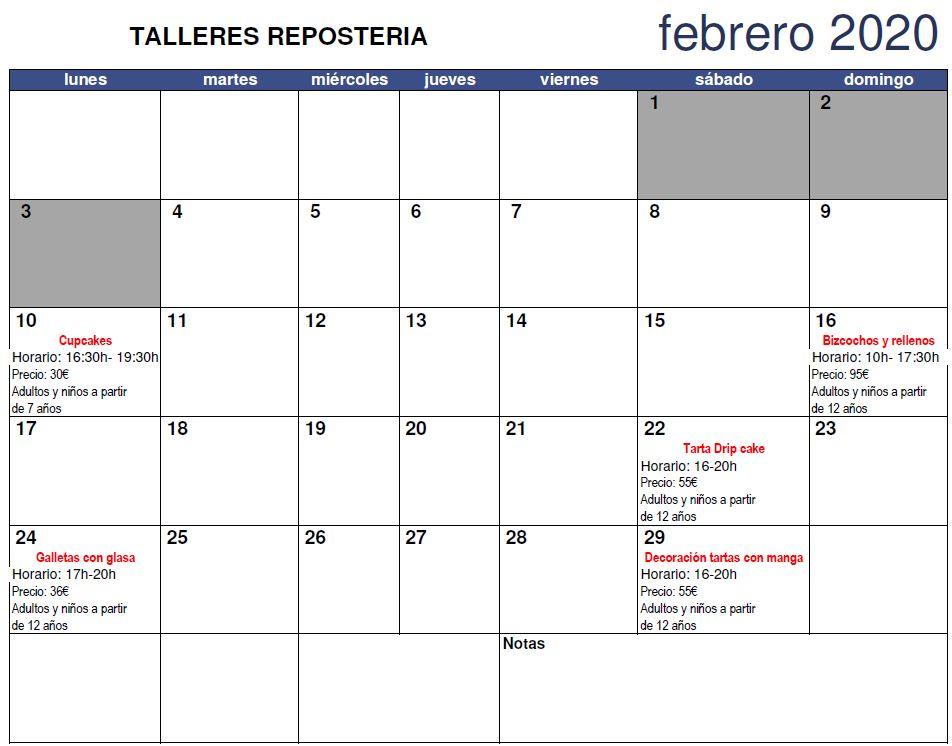 calendario talleres reposteria